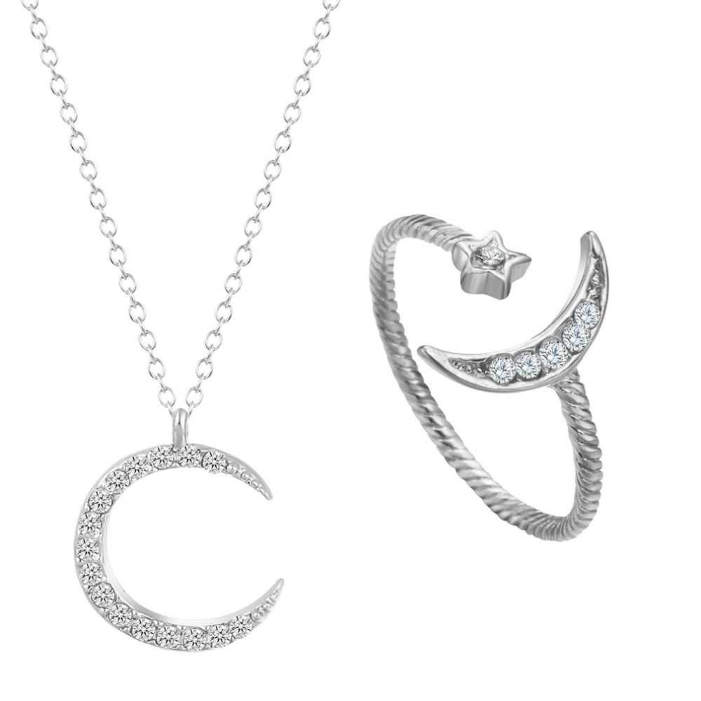 QIMING AAA คริสตัล Rhinestone Moon สร้อยคอ Crescent แหวนสำหรับเครื่องประดับสตรีชุด Midi แหวนแฟชั่นปรับสร้อยคอ