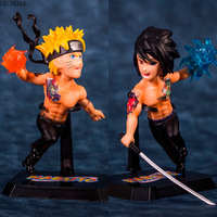 Japan NARUTO Shippuden Anime Action Figure Uchiha Sasuke Uzumaki Naruto Tattoo Ver Model PVC Kids Collection Toy Brinquedos 16cm