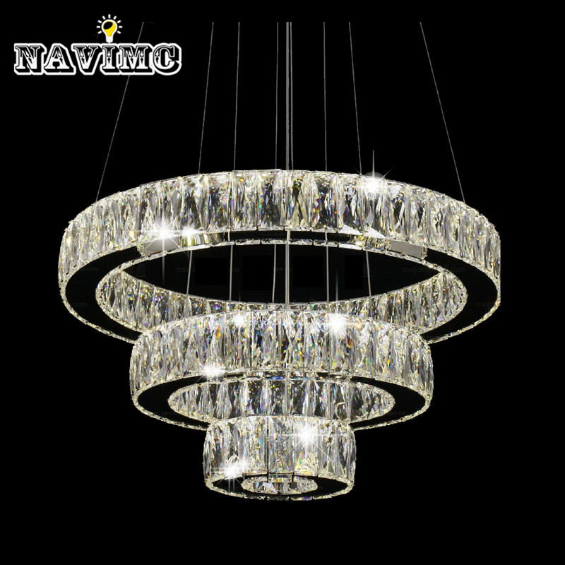 Modern LED K9 Crystal Chandelier Light Fixture for Ding Room Kitchen Restaurant Hanging Lamp Suspension  1 Ring 2 Ring 3Rings z best price l80xw80xh100cm modern k9 square crystal chandelier restaurant lamp hanging wire pyramid crystal lamp project lights
