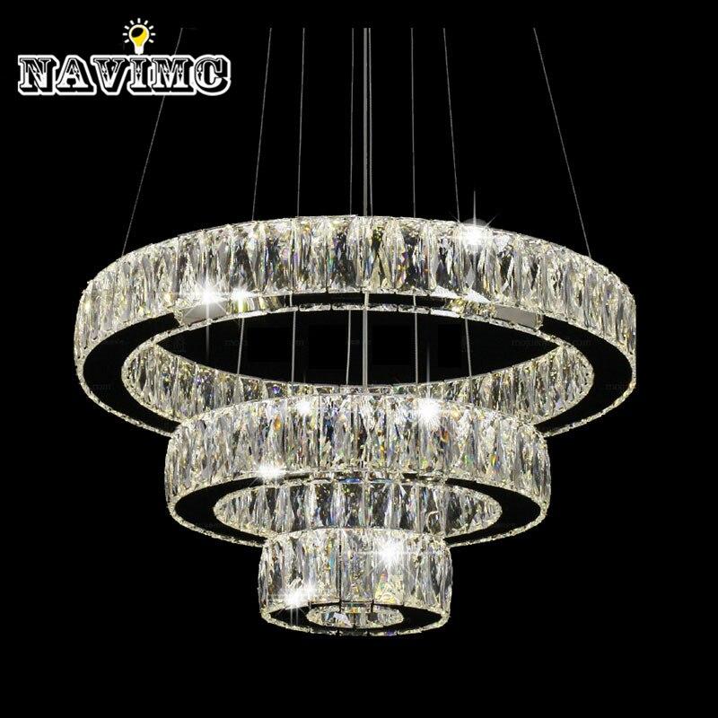 Moderne LED K9 cristal lustre luminaire pour Ding Room cuisine Restaurant Suspension lampe 1 anneau 2 anneau 3 anneaux