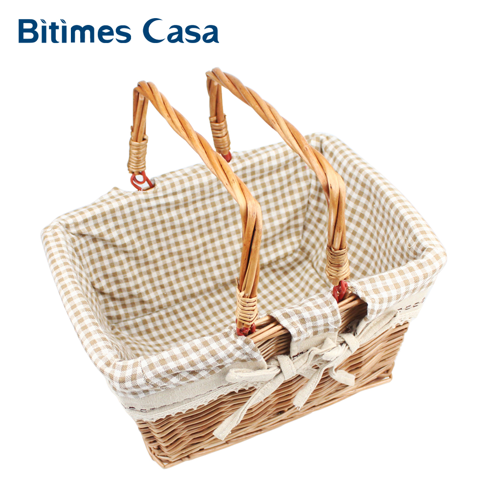 Willow Wicker Storage Basket With Liner For Home: Vintage Wicker Willow Storage Basket With Foldable Handle