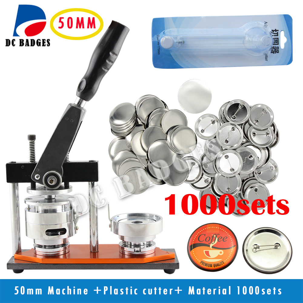 Manufacturers wholesale 50mm Badge Button Machine + Adjustable Circle Cutter+1000Sets Metal pinback Badge Material free shipping new pro 1 1 4 32mm badge button maker machine adjustable circle cutter 500 sets pinback button supplies