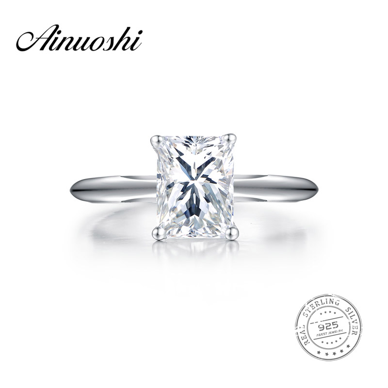 AINUOSHI Female 1.5 Carat Square Solitaire Ring 925 Sterling Silver Engagement Wedding Rings Women Sona Anillos Mujer Sona Ring