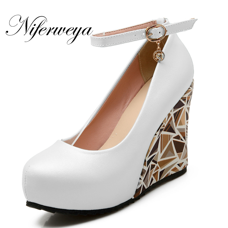 New Fashion Spring/Autumn women pumps Big size 33-43 Round Toe PU Buckle Strap platform Wedges high heel shoes zapatos mujer брошюровщик gbc c366