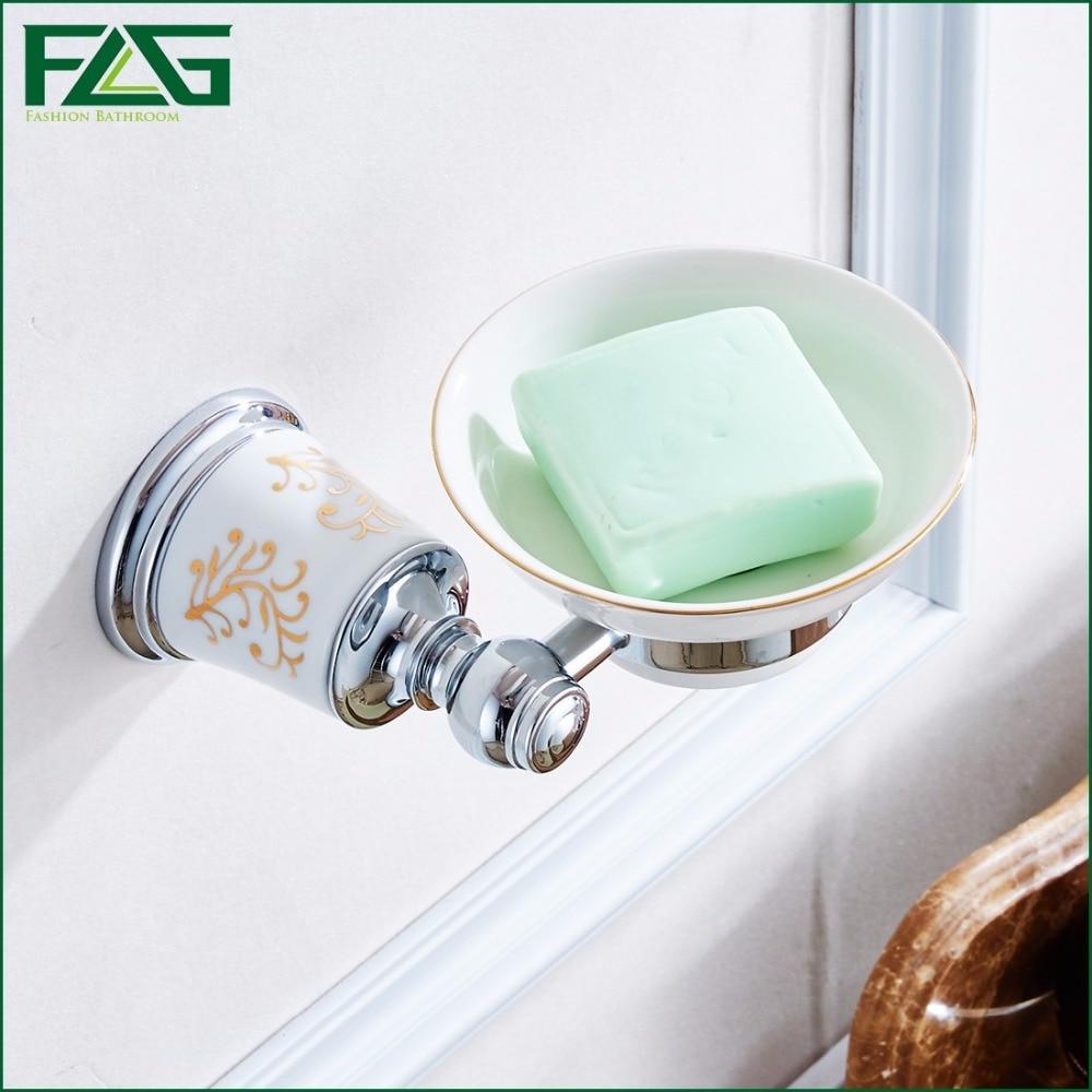 Flg High Grade Soap Dish For Shower Rail Chrome Ceramic Style Bathroom Accessories Wall Soap