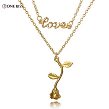 New Arrival Romantic Fashion Chokers Necklaces for Women Love Rose Flower Pendant Necklaces Double Layer Chain Elegant Jewelry(China)