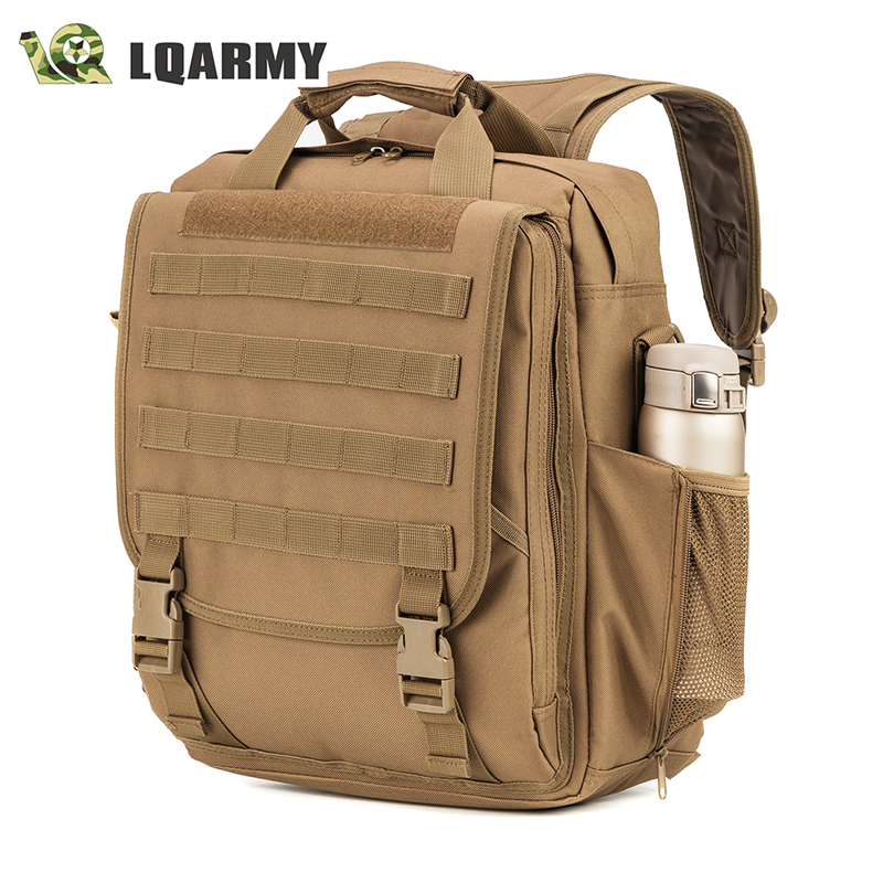 LQARMY Military Tactical Laptop Backpack Waterproof Multi-function Laptop Computer Bag for Law Enforceme, Study (Coyote)