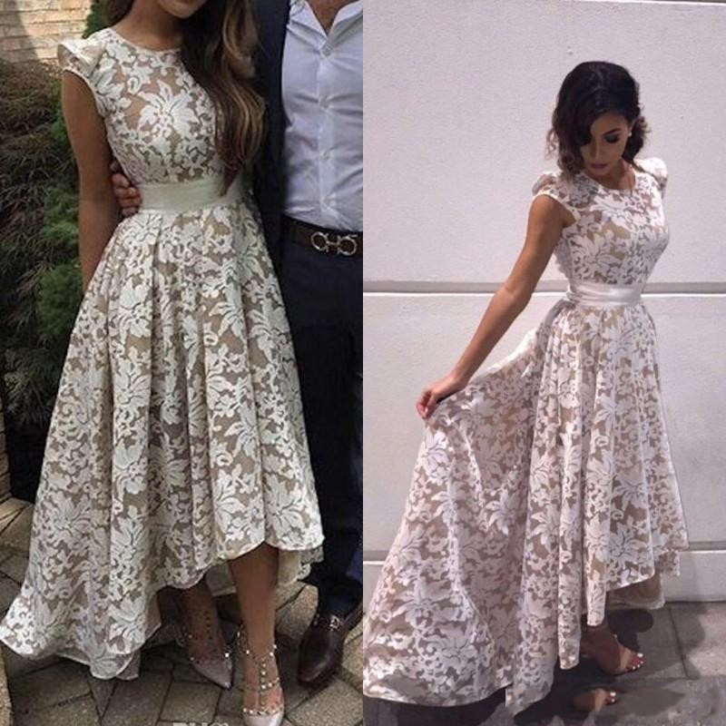 Hq Elegant Cap Sleeves High Low Prom Dresses White Champagne Lining