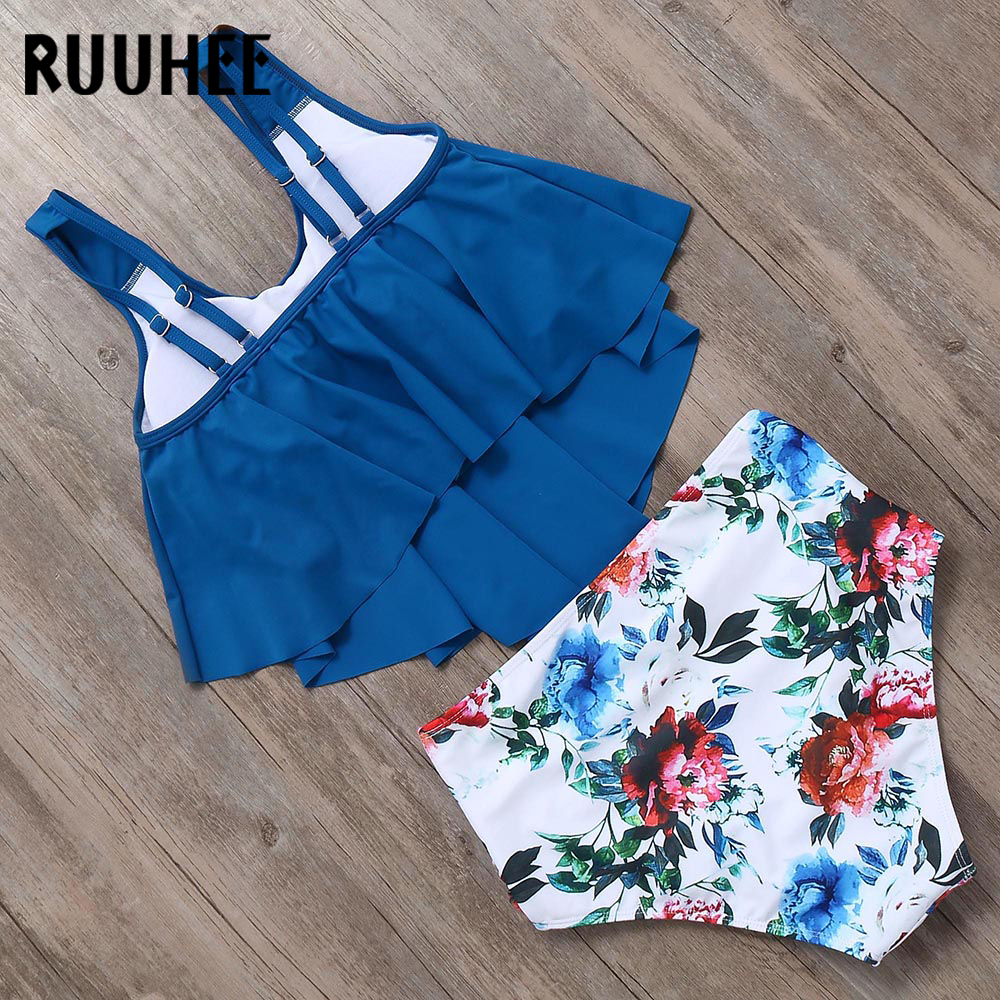 HTB1ZkodaN2rK1RkSnhJq6ykdpXaE RUUHEE Bikini 2019 Swimsuit Swimwear Women High Waist Tankini Bikini Set Push Up Bathing Suit Women Beachwear Plus Size Swimwear