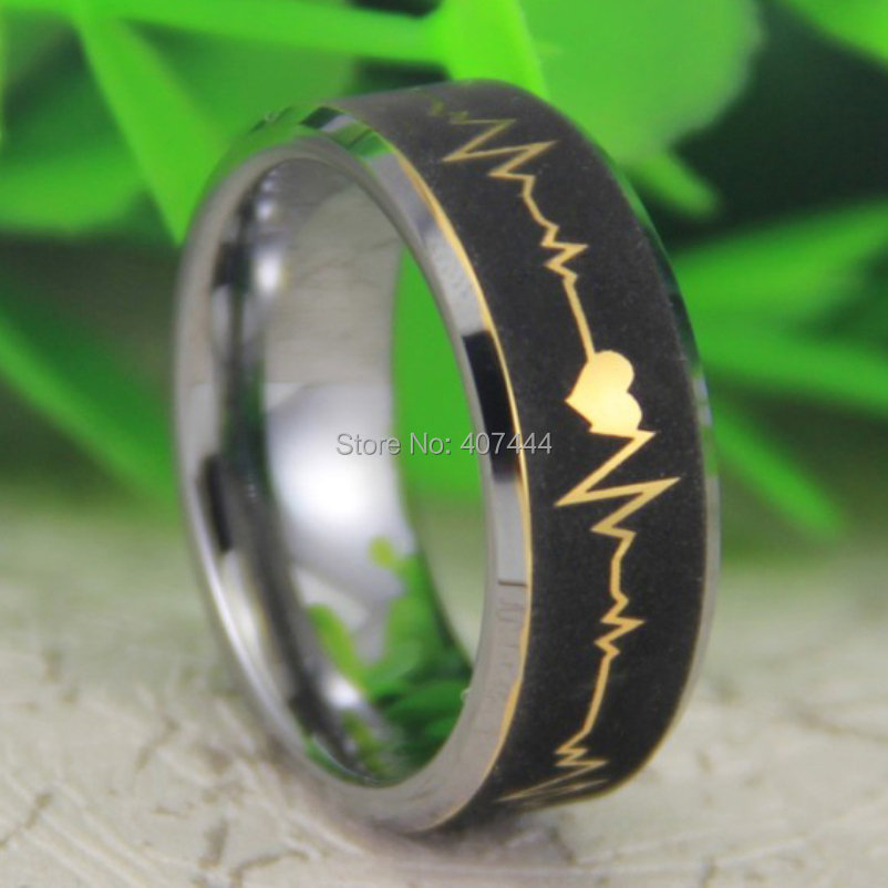 Free Shipping USA UK Canada Russia Brazil Hot Sale 8MM new Gold Silver Egde Forever Love HeatBeat New Mens Wedding Tungsten Ring new pure au750 rose gold love ring lucky cute letter ring 1 13 1 23g hot sale