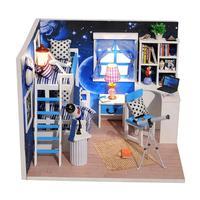 Niebieski Przestrzeni Sen Mini Dream House Drewna Meble Dollhouse Miniaturowy Z LED + + Pokrywa Pokój Dollhouse Zestawy Dla Przyjaciela Prezent urodzinowy