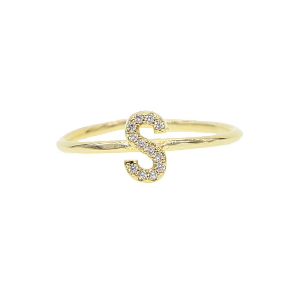 2019 Летний стиль 26 буквы алфавита Золотое кольцо для женщин Девушка Минимальная нежная Звезда Сердце персонализированное Имя Пользовательские ювелирные изделия