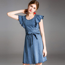 Fashion street hipsters spring and summer new European American fashion ruffled sleeves tie A version denim womens dress
