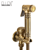 Wall Mounted Brass Bidet Faucet Toilet Sprayer Tap Antique Bathroom Mop Cleaning Faucet ,Hose+Holder+Sprayer
