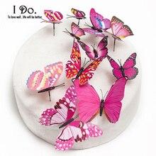 Free Shipping 12pcs Pvc Butterfly Wedding Cake Topper/wedding Cake Stand/wedding Decoration/cake Decorating Supplies