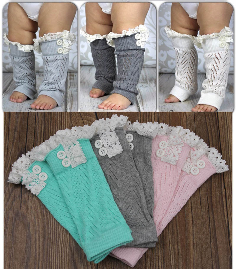 Retail New Arrival Girls Kids Baby Lace Leg Crochet Pattern Boot