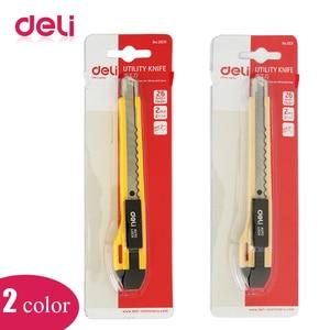 Deli 1 Uds cuchillo de corte de utilidad Auto Lock reemplazable hoja pequeña cuchillo de papel cortador Oficina escuela suministros de Color al azar