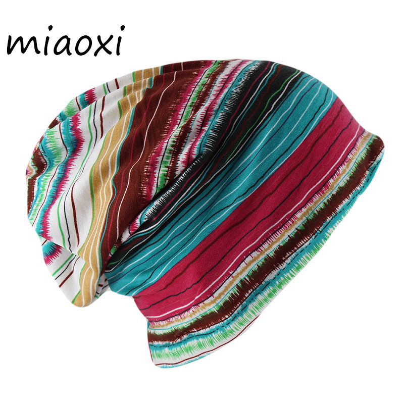 miaoxi Adult Women Striped   Beanies     Skullies   Two Used Casual Scarf Hat Caps For Female Cotton Caps Autumn Spring Hats Bonnet