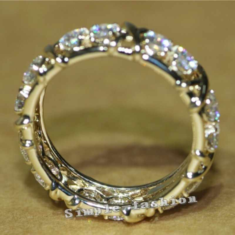 Choucong เครื่องประดับ 3mm หิน 5A Zircon Cz 10KT สีเหลืองทองหมั้นแหวนสำหรับของขวัญผู้หญิง