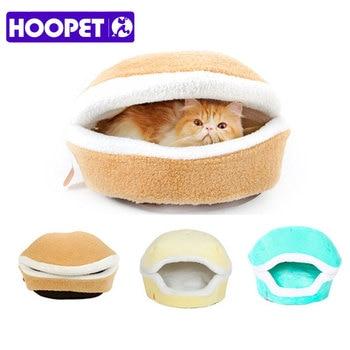 HOOPET Warm Cat Bed House Hamburger Bed Disassemblability Windproof Pet Puppy Nest Shell Hiding Burger Bun for Winter 1