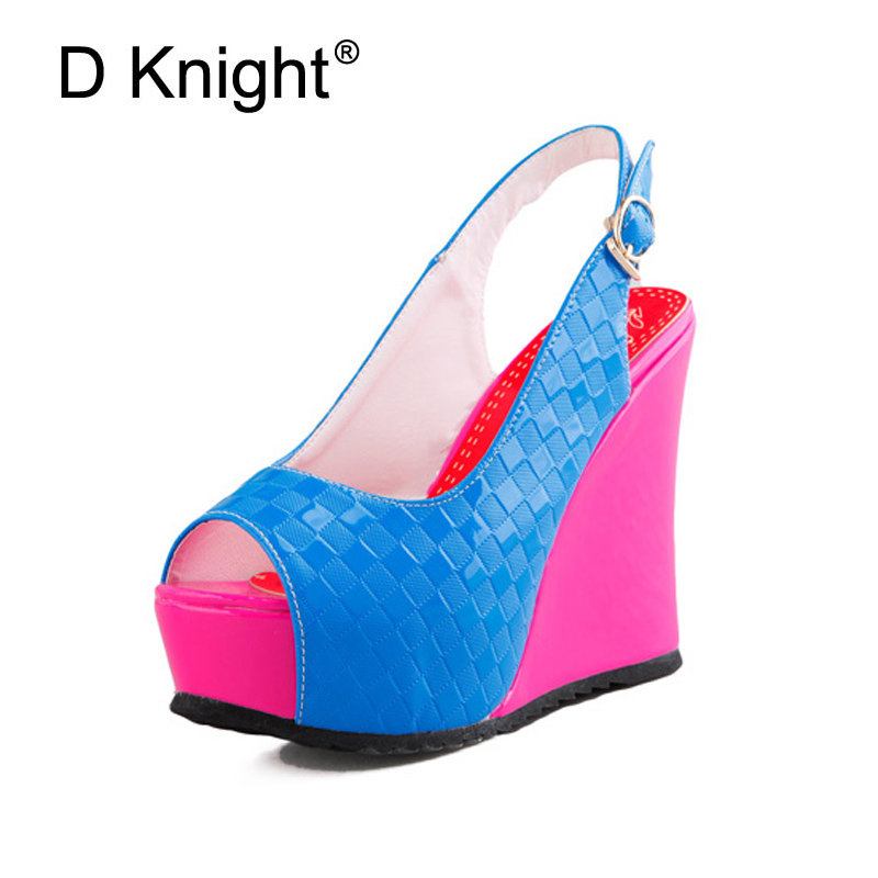 Fashion Color Block Open Toe Wedges Sandals For Women Ladies Casual Platform High Heels Wedge Shoes Female Summer Wedge Shoes  enmayla flowers wedges heels platform sandals women open toe high heels shoes woman solid color ladies sandals female shoes