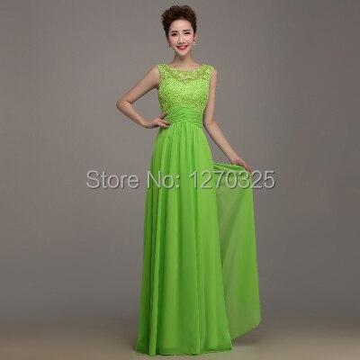 Vestidos largos de encaje color verde