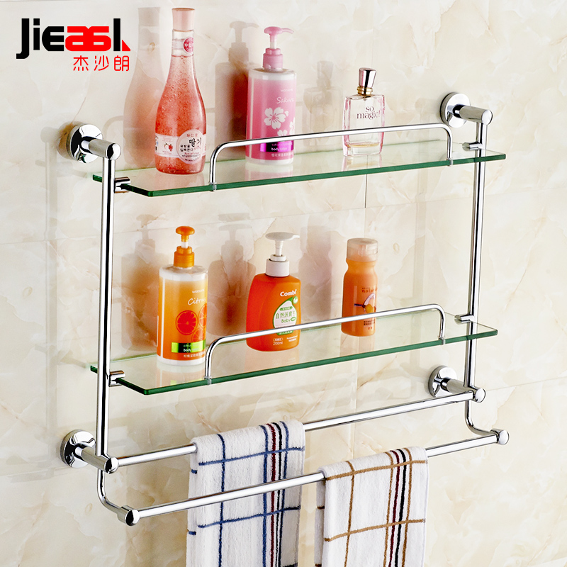 Brass Bathroom Glass Shelf Finish With Tempered Glass, Towel Shelves ...