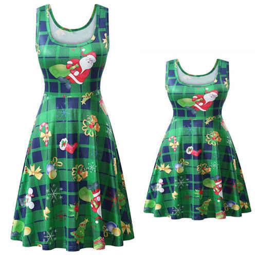 02966e0484f 2018 New Vintage Womens Xmas Christmas long sleeve dress Ladies Snowman  Swing evening party plus size