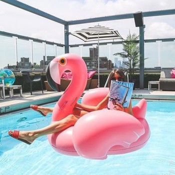 Inflatable Flamingo Swimming float Pool Float Pink Ride-On Swimming Ring Adults Children Water Holiday Party Toys Piscina 150CM 3