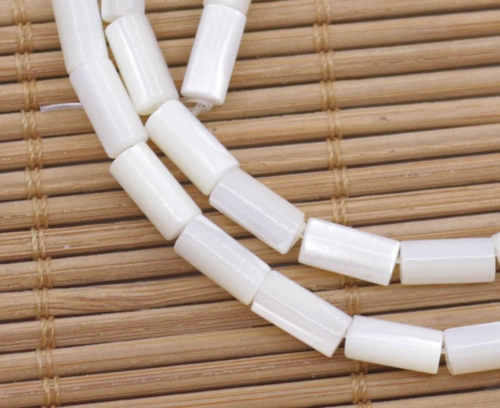 "Купить с кэшбэком Natural White Tube Shell Mother of Pearl Loose Beads 15"" Jewelry Making 4mmX8mm"