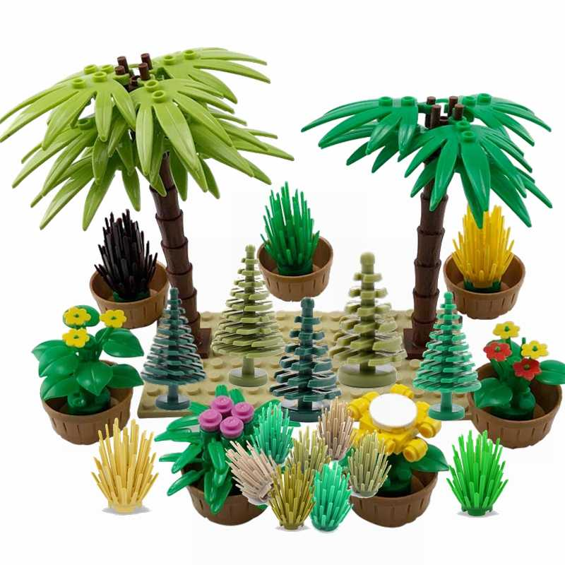 Legoing Military MOC Green Bush Flower Grass Tree Plants Garden Scenes Weapon Accessories Building Blocks Toys Legoings Creators