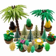Legoing Military MOC Green Bush Flower Grass Tree Plants Garden Scenes Weapon Accessories Building Blocks Toys Legoings Creators(China)