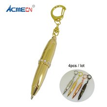 ACMECN 4pcs / lot Brass Mini Pen with Key Ring Novelty Design Gunmetal Ballpoint Pocket Size Short Gifts for Christmas