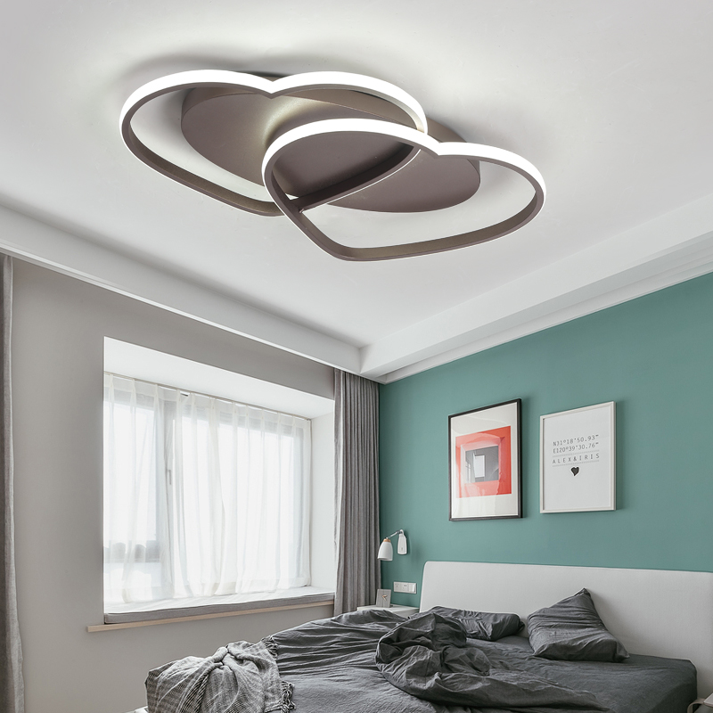 Blanco/café llevó las luces de techo corazón creativo en forma de dormitorio caliente romántico LED lámpara de techo hotel iluminación decoración mx5091652 - 3
