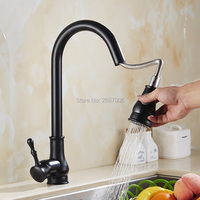Free Shipping New Arrival Pull Out Sprayer Faucet Black Kitchen Mixer Faucet Flexiable Spout Deck Mount