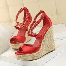 купить super High heels 13cm pumps women shoes braided pastry shoes satin metal chain ladies bridal shoes peep toe wedges silks buckle по цене 1627.63 рублей