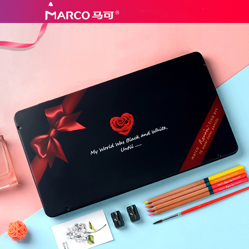 Marco Renoir 72 Colored Pencils Set Professional Coloring Kit Artist Design Adult Coloring Book Metal Romantic Gift Box 3120 72
