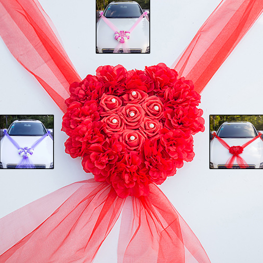 Diy Wedding Flowers Ideas: Wedding Car Decorations Kit Set Artificial Silk Flower