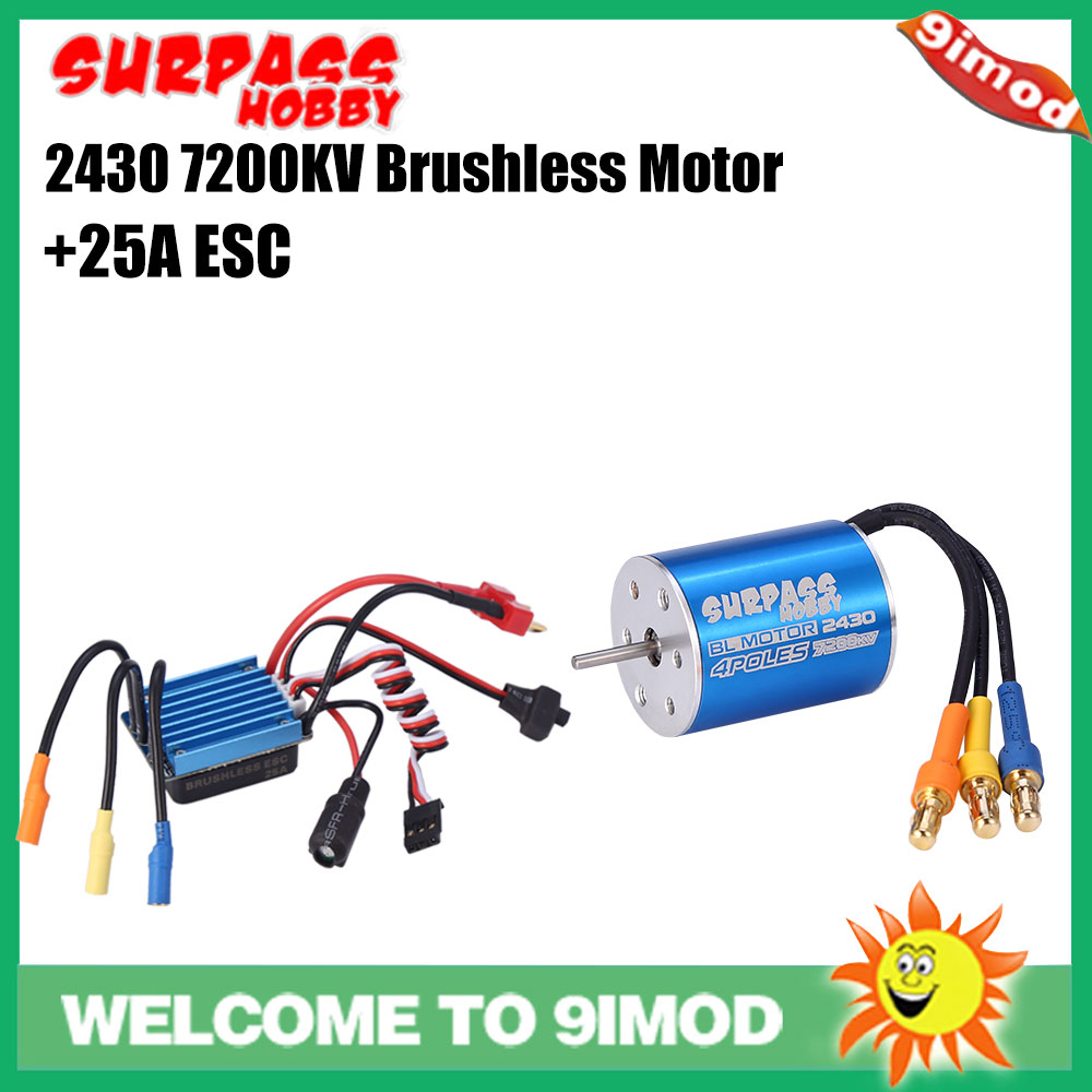 SURPASS HOBBY 2430 7200KV 4P Sensorless Brushless Motor With 25A Brushless ESC Combo for Traxxas <font><b>Tamiya</b></font> 1/16 1/18 HSP RC Car image