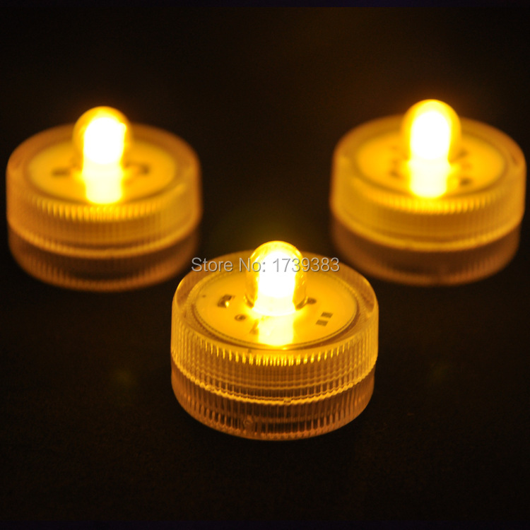 36pcs/lot free shipping Underwater Submersible LED Lights Batteries Candle Tea Light for Party/Family Dinner/Bar Activity