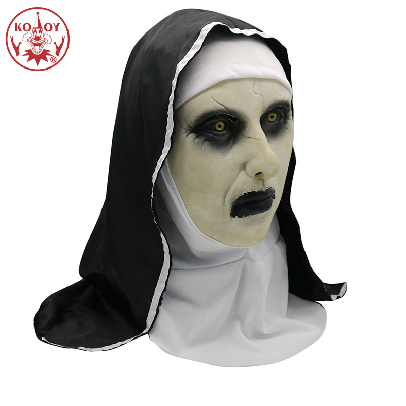 2019 New The Nun Mask Cosplay Costume women men Latex Masks with Headscarf  Full Face Helmet Horror Costume Halloween Prop