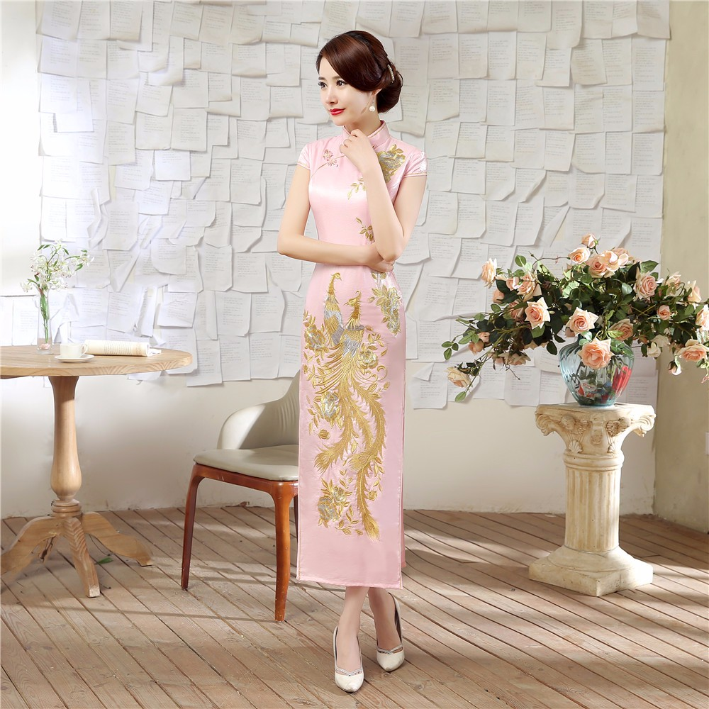 Elegant Pink Chinese Style Bride Wedding Party Dress Vintage Embroidery Satin Cheongsam Sexy Long Slim Qipao Size S XXL LGD0042