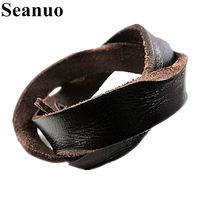 Seanuo Hot Sale 45CM Twisted Double Layer Genuine Leather Men Bangel Bracelet Fashion Punk Rock Women Charm Wristband Bracelets