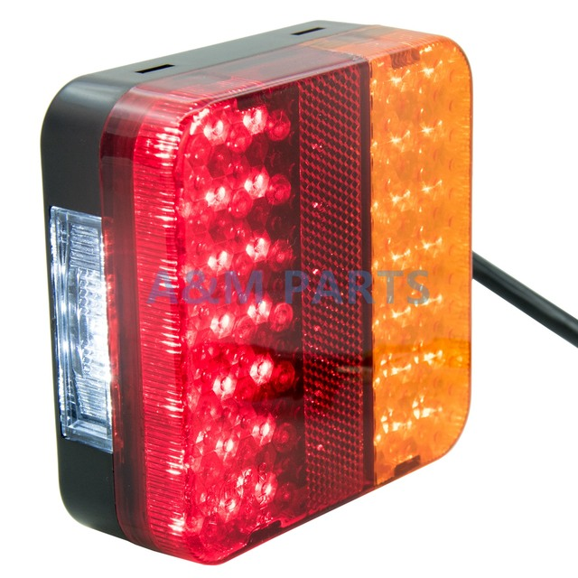 Square Led Boat Combination Trailer Light Kit With License