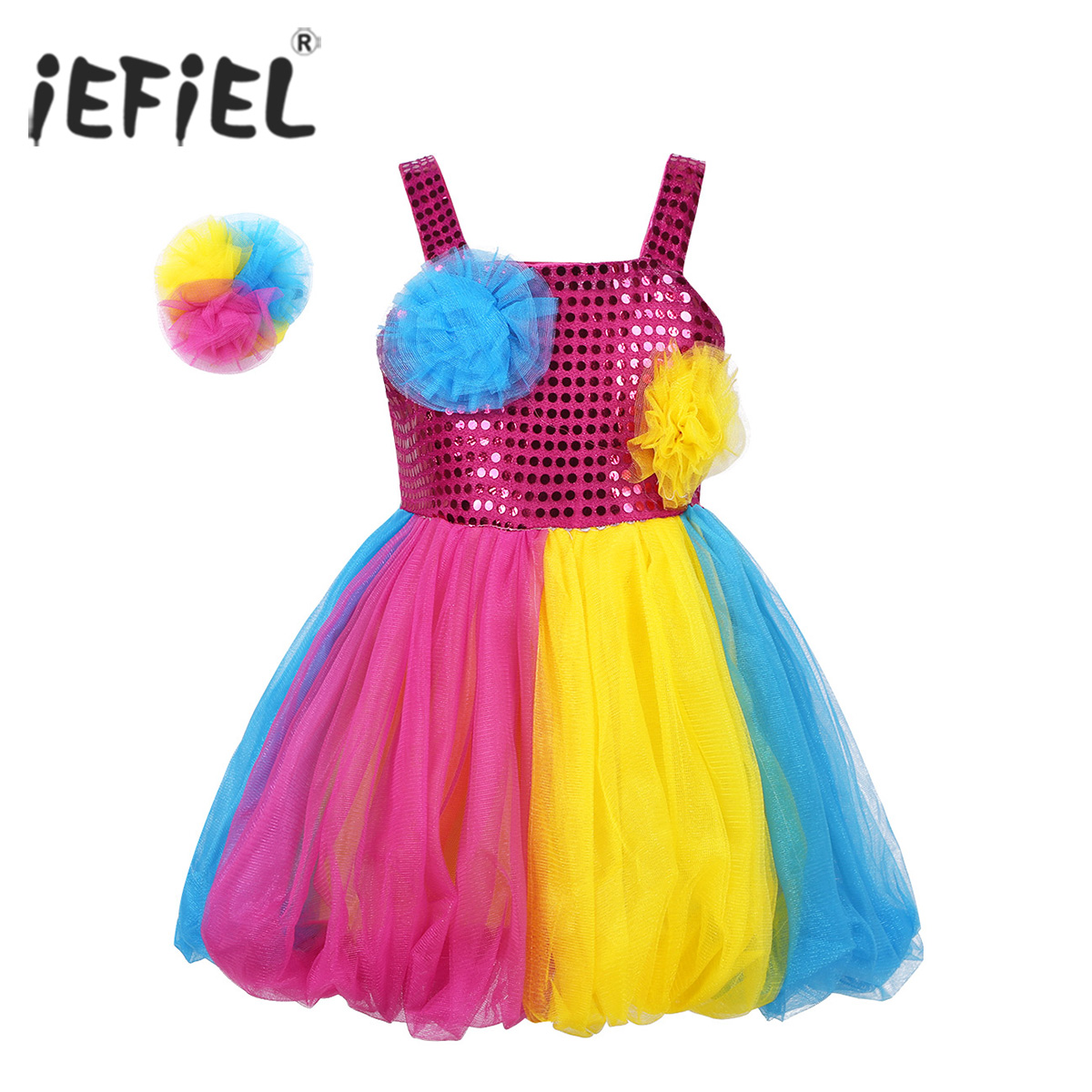 Kids Girls Dancewear Costume Glitter Reflective Mesh Tutu Dance Dress with Hairclip Set for Modern Contemporary Dancewear