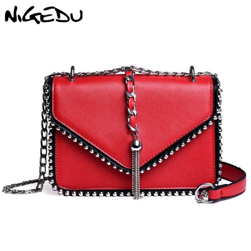 NIGEDU Tassel Rivet Women Chains Shoulder Bag Female Small Handbag Solid Flap Crossbody Bags Ladies Pu Leather Messenger Bag aim brand small shoulder bags for women luxury crossbody bags female solid flap bag girl mini black messenger bag tassel w022