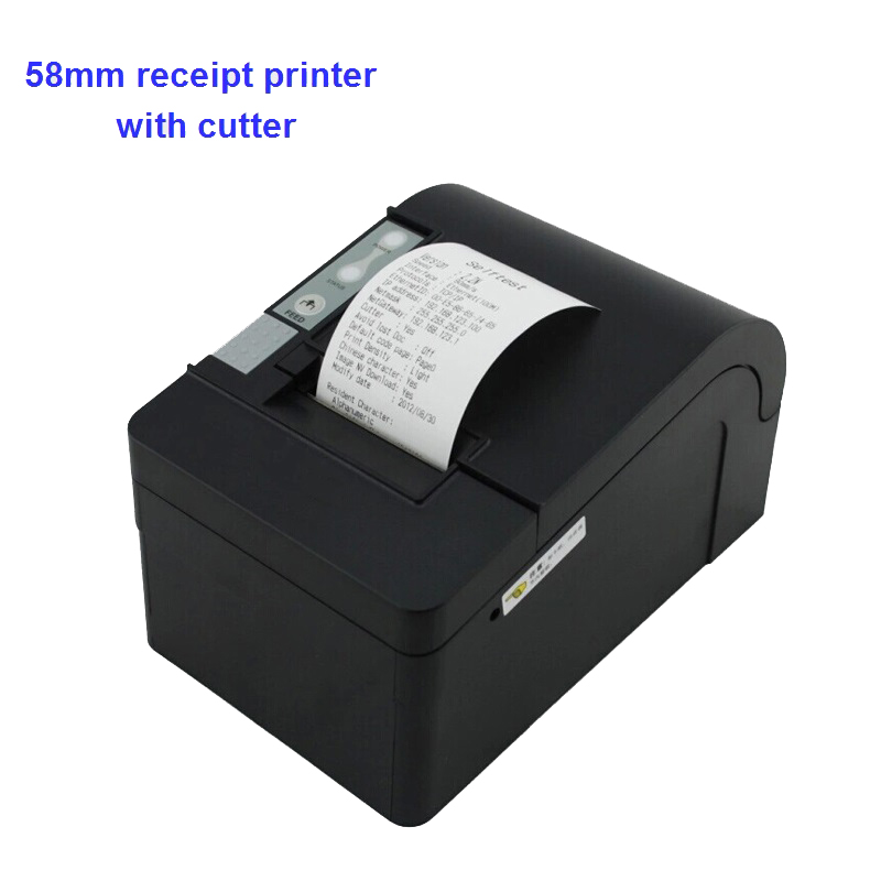 Thermal receipt printer pos 58mm with auto cutter printing machine big gear wheel can choose paralle usb ethernet port usb interface 58mm pos receipt printer thermal printing with power supply built in free shipping
