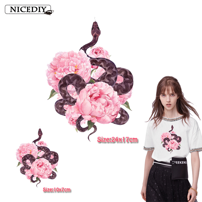 Nicediy Fashion Snake Flower Patch Heat Thermal Transfers Iron On Transfer For Clothes T-Shirt Decor Hippie Style Applique