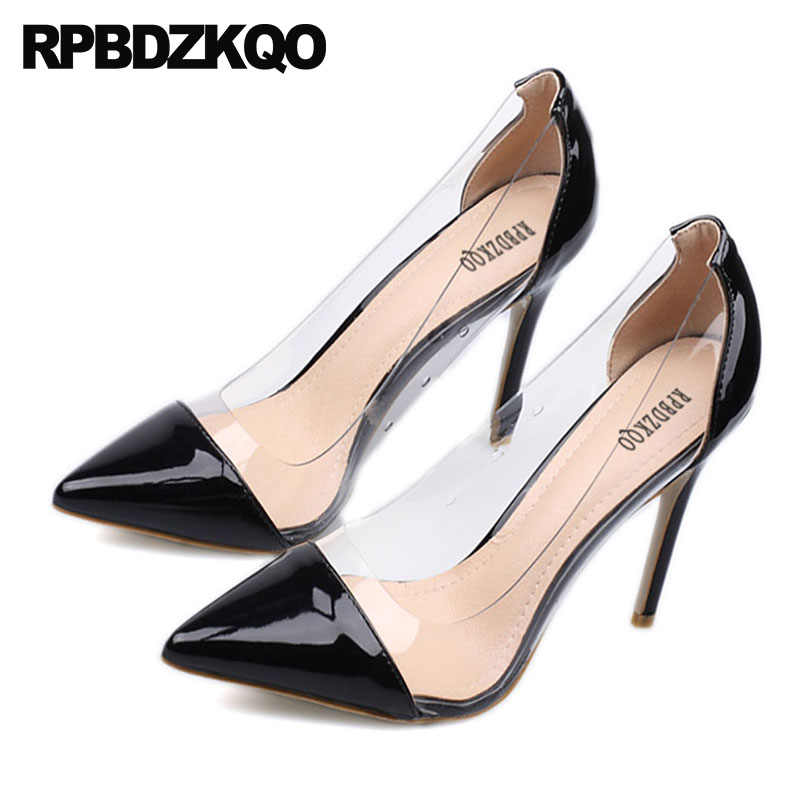 665f458499c ... clear patent leather stiletto transparent sexy white high heels black  nude fashion shoes 2018 pvc pumps ...