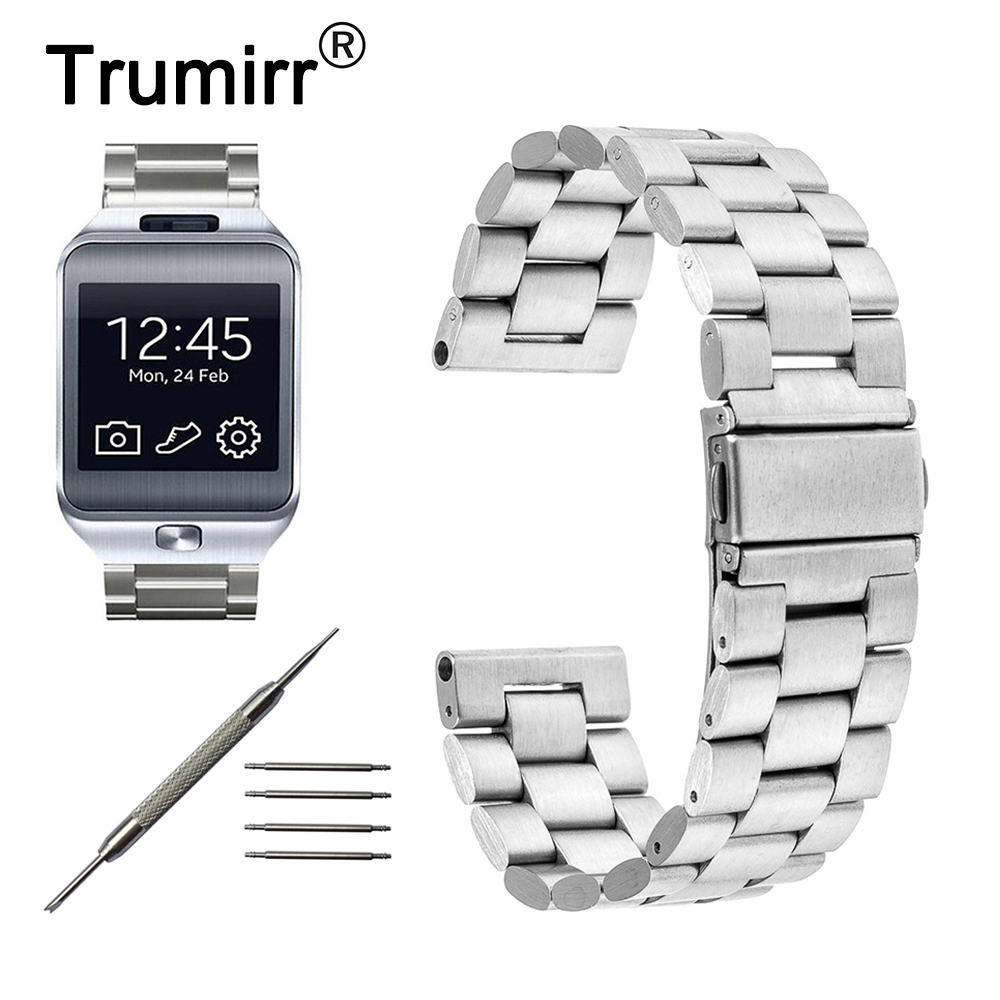 Stainless Steel Watch Strap 22mm for Samsung Gear 2 R380 Neo R381 Live R382 <font><b>Moto</b></font> <font><b>360</b></font> 2 2nd 46mm <font><b>Band</b></font> Bracelet Black Gold Silver image